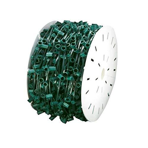 MIK Solutions 1000 Feet C9 Christmas Spool Green Wire with Socket Stringer Bulk Reel, 12  Spacing, Intermediate Base (C9 E17), SPT-1 (1000, 1000Ft)