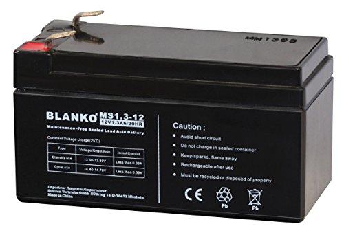 Blei-Akku 12V 1,3Ah wartungsfrei Bleiakku BLANKO Blei Akku Accu Acid Battery