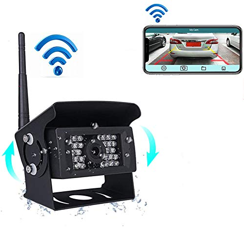 podofo Digital WiFi Rückfahrkamera wasserdichte Nachtsicht mit Backup-Linie Monitor Kit kompatibel,Backup-AutoKameramit iPhone/iPad und Android für Trailer, RV, Trucks