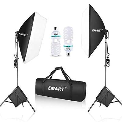 "Emart 1050 Watt Softbox Photography Lighting Kit with Sandbags 20"" x 28""/ 50 x 70 cm Continuous Lighting Equipment 2pcs 5500K Photo Video Lighting Bulb for Product Shooting, Portraits and Filming"