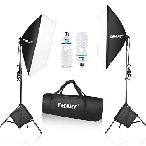 Emart 1050 Watt Softbox Photography Lighting Kit with Sandbags 20' x 28'/ 50 x 70 cm Continuous Lighting Equipment 2pcs 5500K Photo Video Lighting Bulb for Product Shooting, Portraits and Filming