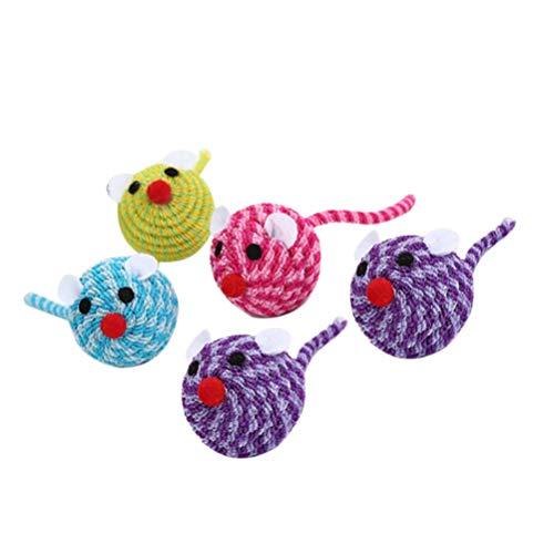 Balacoo 5 Stück Bunte Katzenmäuse Kopf Spielzeug Elastisches Seil Katzenmäuse Spielzeug Maus Kätzchen Interaktives Spielzeug (Zufällige Farbe)