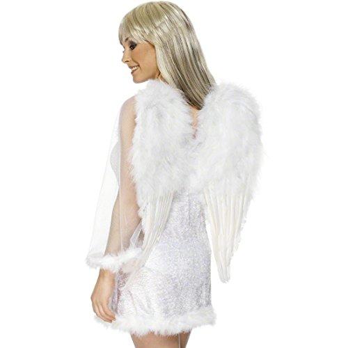 Amakando Engelflügel weiß Engel Flügel 50 cm x 60 cm Weiße Federflügel Kostümflügel Federflügel