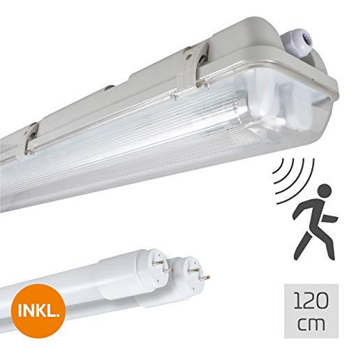 proventa Feuchtraumleuchte mit HF-Bewegungsmelder und 2 LED-Röhren 120 cm, 28 W, 4.200 Lumen, 4.000 K, IP65, 50.000h, IK08, Kunststoff grau, Flackerfrei