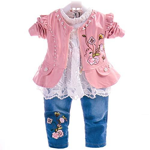 6M-4T Baby- und Kleinkindmädchen 3-teiliges Kleidungsset Langarm-T-Shirt Lederjacke und Jeans (6-12M, Rosa-Blume)