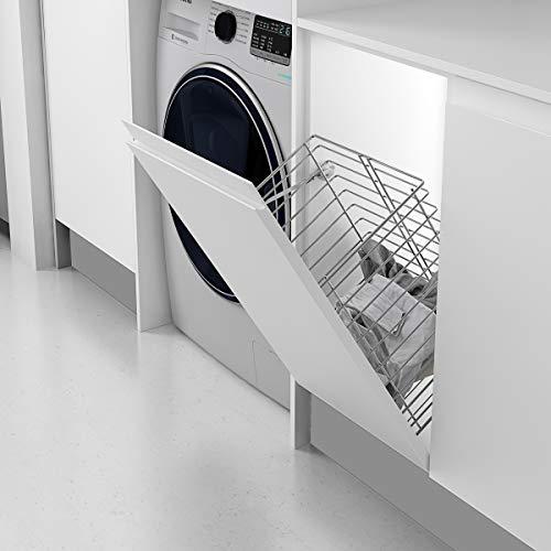 Casaenorden - Cesto para Ropa Sucia abatible de Rejilla para Mueble de Cocina o baño - Ancho de Puerta 350 mm