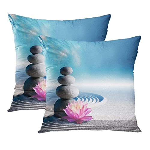 Funda Almohada 45x45cm,Juego de 2 Fundas de cojín,Sand Lily SPA Stones Zen Garden,Funda Almohada Decorativa,para sofá