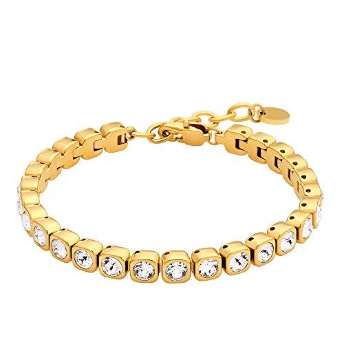 Heideman Armband Damen Amilla III aus Edelstahl Gold farbend matt Tennisarmband mit Steinen Weiss mit Verlängerung Armkette für Frauen Schmuck vergoldet