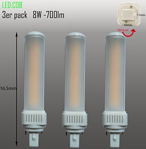 Set van 3 LED G24d PL C pin2 lampen PL-C 8W 3000k Universal G24d 2-pin vervangt Osram G24d-2 DULUX vervangt Osram G24d-2 DULUX Philips Master PL-C 2Pin G24d