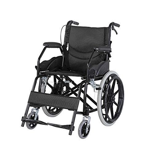 CANDYANA Leichte Carbon Steel Rollstuhl Folding Armlehnen mit Anti-Dekubitus-Kissen für Reisen Stuhl Ältere,Schwarz