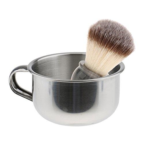MagiDeal Blaireau de Rasage à Manche en Résine Brosse à Barbe pour Nettoyage Facial + Bol de Rasage en Acier Inox - Accessoire de Rasage Manuel pour Hommes
