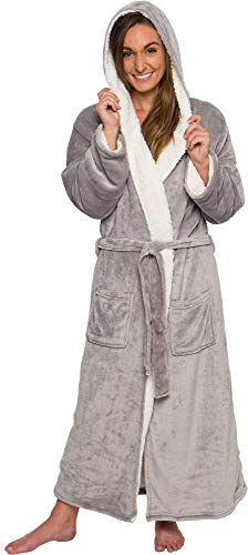 Silver Lilly Women's Sherpa Lined Long Robe - Luxury Full Length Plush Fleece Bathrobe (Grey, Large/X-Large)