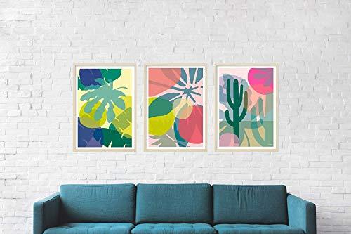 3 x Poster Tropicals / 3er Serie, Kunstdruck, Druck, Pflanze, Design, Kunst, Geschenk, Deko, Wohnzimmer, Blatt, Dschungel, Blau, Grün, Din A2