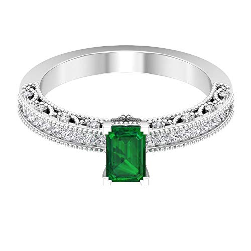 Rosec Jewels 10 quilates oro amarillo round-brilliant-shape Octagone H-I Green Diamond Zafiro azul Leb creado