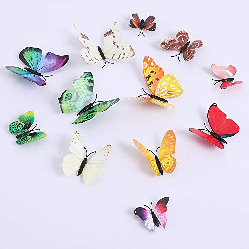 Butterfly Wall Decals 3D Butterflies Wall Stickers DIY Removable Mural Decals Home Decoration Kids Room Bedroom Decor Living Room Decor (Butterfly Colorful)