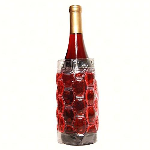 Zees Inc Pocket Bottles Freezable Wine Wrap, Red