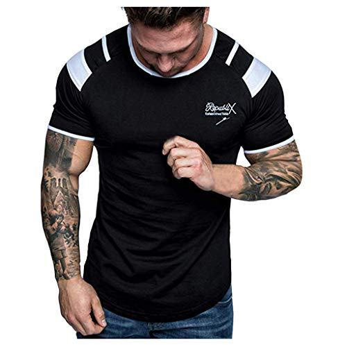 Best Bargain XQXCL Men's Summer Letter Printed T-Shirt Stitching Short-Sleeved Top Classic Blouse Bl...