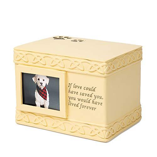 Jewelora Urnas Mascota Grabado Personalizado Cremación Urnas para Cenizas Pequeño Recuerdo para Cenizas Monumento Titular de Cenizas para Humanos Mascota Perro Gato Cenizas (Amarillo Resina)