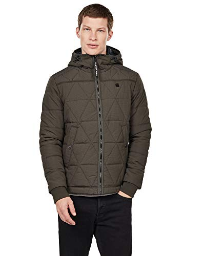 G-STAR RAW Herren Edla Multiquilt Hooded Jacke, Grau (Asfalt 995), Large (Herstellergröße: L)