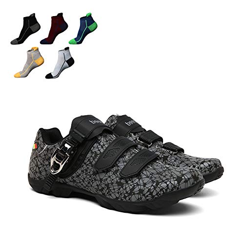 UYBAG Adults' Mountain Bike Shoes 1 Pair Cycling Spinning Shoe with 5 Pairs Sports Socks and Velcro Strap Triathlon Racing Shoes The Best Choice for Beginners,38