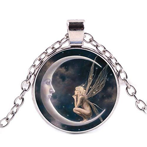 Collar con colgante de hada en la luna, collar de cristal de plata vintage, regalo creativo de cumpleaños, regalo para amigos, joyería diaria.