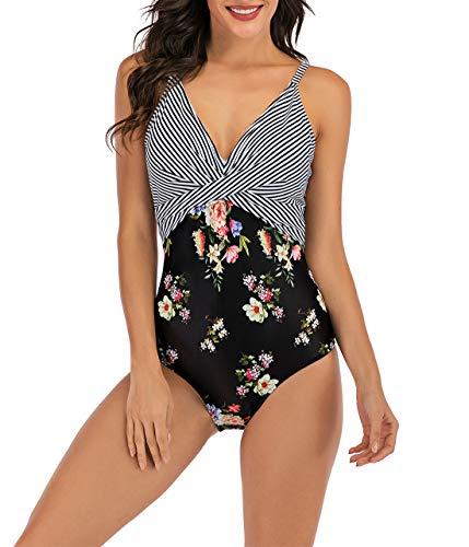 Laorchid strój kąpielowy dla kobiet wysoki stan strój kąpielowy jednoczęściowy push up plus size strój kąpielowy Czarne paski XXL