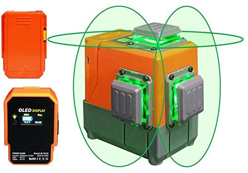 Danpon レーザー墨出し器 グリーン12ライン 3×360° クロスライン フルライン照射モデル 大矩 自動補正 OLEDパワーバンク、18650電池ボックス、ウォールブラケット付き 高輝度 屋内外対応 非球面ガラスレンズ採用VH-3D