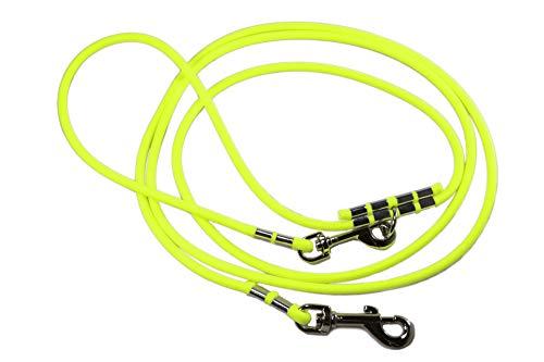 LENNIE Lange Hundeleine/runde BioThane® / lösbare Handschlaufe/Zwei Karabiner/Ø 8 mm / 2-30 Meter [6 m] / 15 Farben [Neon-Gelb]