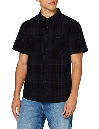 Brandit Herren Roadstar Shirt Hemd, Schwarz/Blau, 3XL