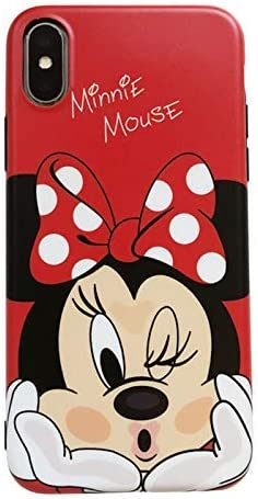 C CASESOPHY Ultra Slim Soft TPU Red Mouse Case for iPhone Xs Max 6.5 Inch 2018 Shockproof Smooth Polka Dots Cartoon Cute Chic Lovely High Fashion Stylish Cool Girls Women Teens Kids Daughter