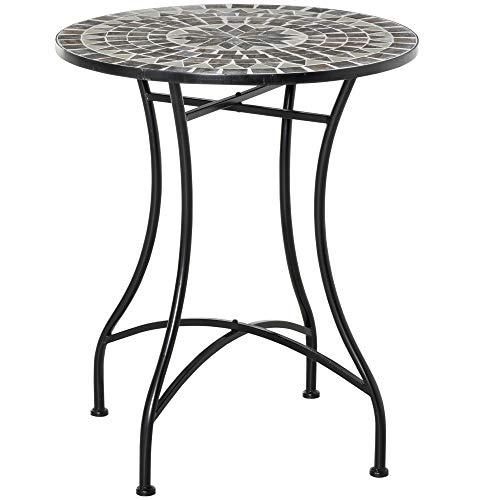 Outsunny Tavolino da Giardino in Metallo e Ceramica, Tavolo da Esterno per Terrazzo o Balcone, Ф60x71cm, Nero