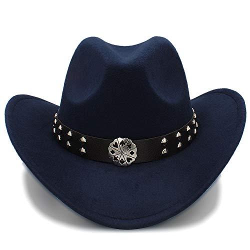 SSLA SSLA 2018 Western Cowboy Hüte Nachahmung Wolle Material Herren Damen Visier Hut Reise Leistung Punk Cowgirl Cap (Farbe : Dunkelblau, Größe : 56-58cm)