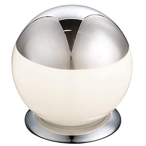 Tisch Lampe Kugel Schlaf Gäste Zimmer Beleuchtung Chrom Leuchte weiß Globo 21805