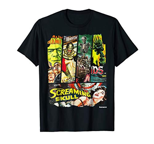 Vintage Sci Fi Horror Movie Poster Collage T-Shirt for Adults and Youth, S to 3XL