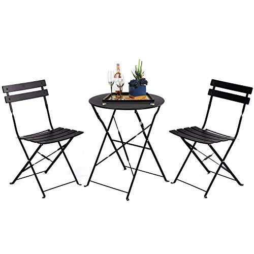 Grand patio Balcony Set, Bistro Set 3 Pieces, 2 Chairs and 1 Table, Premium Steel, Easy to Fold, Folding Table Chairs for Balcony,Yard, Garden (Black)