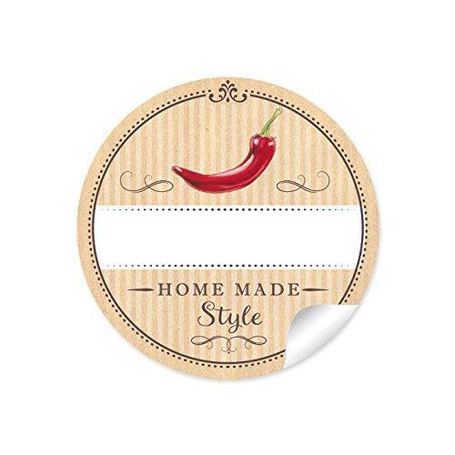 24 STICKER: 24 Schöne Etiketten für die Küche in Natur mit rotem Chili/Peperoni