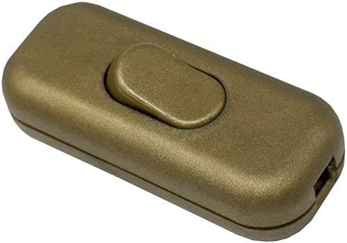 Schnurzwischenschalter Gold Matt für 2-adrige und 3-adrige 2G/3G Zuleitungen Anschlusskabel Stromkabel 300Volt Zwischenschalter mit Wippe EIN/AUS Schalter 1/250V