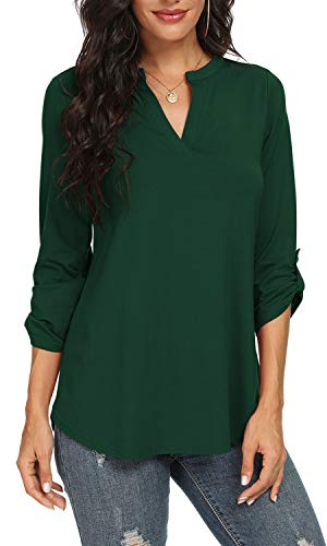 NILOUFO Womens Casual Shirts Notch V Neck Blouses 3/4 Roll Sleeve Tunic Tops(Dark Green, Small)