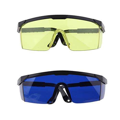 SM SunniMix 2 Pcs Gafas de Copa de Soldadura Gafas de Protección Laboral de Ojos Azul Amarillo para Carpintería Construcción