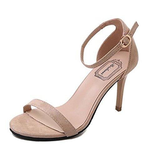 Juleya Damen Sandaletten High Heels Sandalen Stiletto Schuhe Frühling Sommer Damenschuhe Riemchen Sandalen Party Abendschuhe Absatzschuhe Schnallen Pumps 9cm Offene Schuhe Beige 34