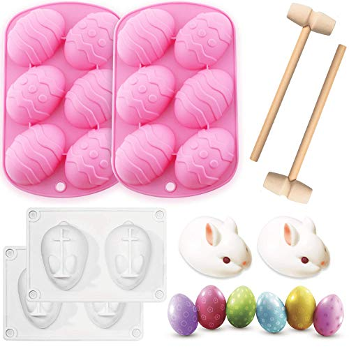 4 Pieces Easter Egg Mold and Rabbit Bunny Cake Baking Mold Chocolate Mold,Easter chocolate silicone egg mold Easter Candy Cookie Mould Silicone Baking Mold for Party Jelly Ice Cube--2 Wooden Hammers