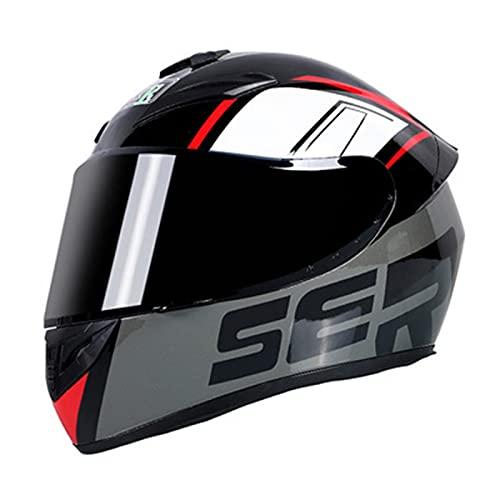 ABDOMINAL WHEEL Casco Integrale Moto,Casco de Moto Unisex,Casco Modular de Moto con Visera Solar,ECE Homologado Casco de Moto de Carreras de Cara Completa Modular F,M=55~57CM