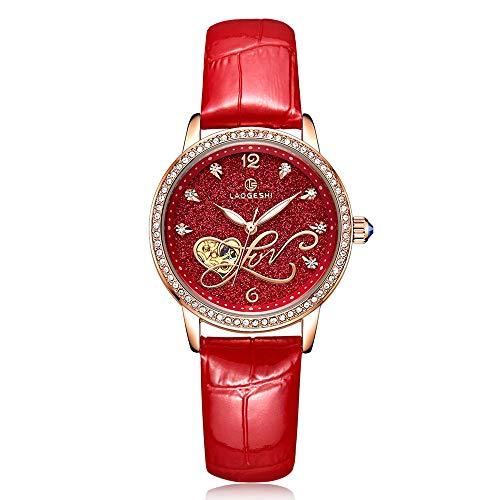 TL Strass Automatische Mechanische Skeleton Uhr-Frauen Voller Stahl Leuchtende wasserdichte Damen-Armbanduhr, Rot,B