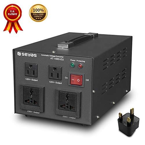 SEYAS 1000W Spannungswandler USA Voltage Converter 220V auf 110V Transformator Automatisch Step Up & Step Down mit U.S. Patent (1000W)