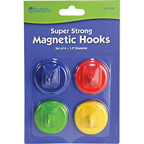 Learning Resources Super Strong Magnetic Hooks, Set of 4, Assorted Colors, 1.5' Diameter