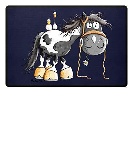Happy Pinto Pferd Comic I Schecke Tinker I Modartis Pferde I Pony I Reiter Geschenk - Fußmatte -60x40cm-Dunkel-Blau