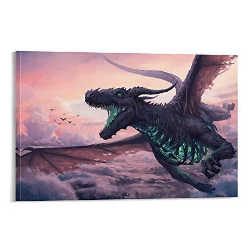 UBNSJDRTHL Pintura al óleo de dragón de fantasía loco para decoración de habitación universitaria, 75 x 50 cm