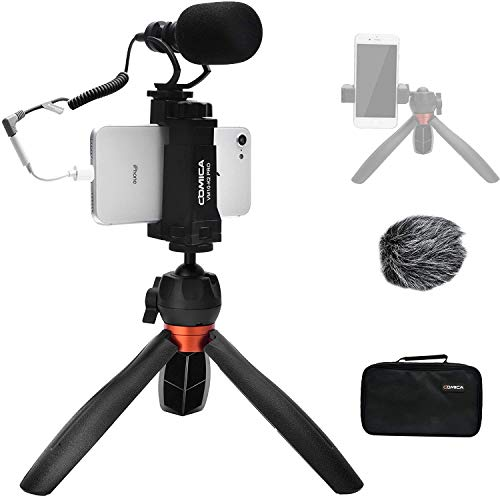 Comica Smartphone Vlogging Kit,Mini Kamera Video Kit CVM-VM10-K2 PRO mit Professionelles Richtmikrofon und Stativ für iPhone, Samsung,Huawei,Kamera,YouTube Kit für Living-Video,Videokonferenz,Filmen