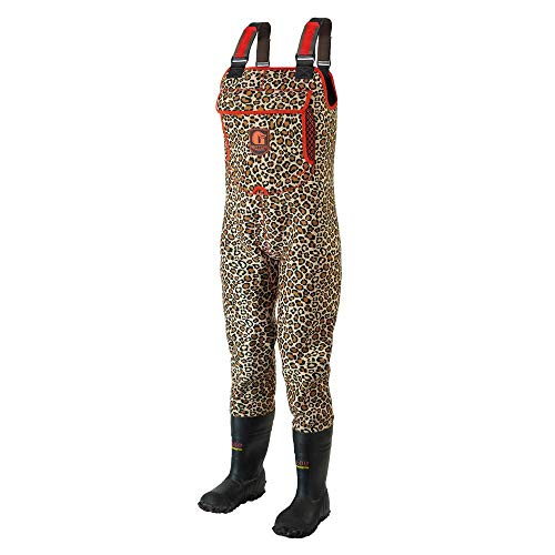Gator Waders Womens Retro Neoprene Chest Waders with Boots, Leopard/Red, Small 6 – Waterproof to Keep You Dry and Warm for Off-Road ATV Riding, Mud Bogging, and Hunting