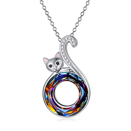 Cat Gifts for Cat Lovers, Sterling Silver Cat Pendant Necklace, Birthday Jewellery Gifts for Women Her Wife